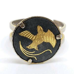 vintage Damascene bird adjustable ring gold fill